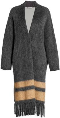 Brunello Cucinelli Long Wool & Mohair-Blend Fringe-Hem Cardigan Coat