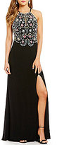 Blondie Nites Halter Neck Keyhole-Front Multi-Color Beaded Bodice Long Dress