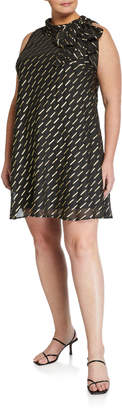 Robbie Bee Signature By Plus Size Bow-Neck Foil Chiffon Swing Dress