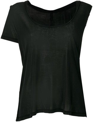 Unravel Project Asymmetric Sleeve Twisted Scoop Neck Tank