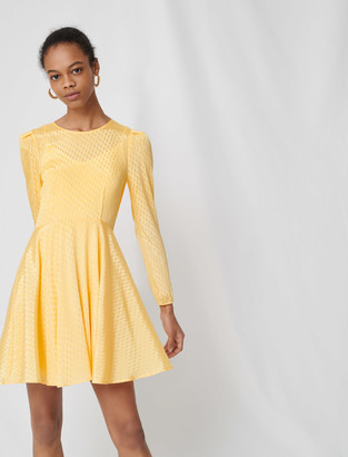 Maje Yellow jacquard skater dress