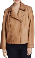 Bagatelle Plus Trapunto Quilted Faux Leather Moto Jacket