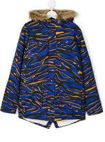Kenzo embroidered logo parka - kids - Cotton/Acrylic/Modacrylic/Polyester - 14 yrs