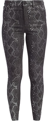 Alice + Olivia Mikah High-Rise Snakeskin-Print Leather Pants
