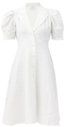 Gioia Bini Fiona Balloon-sleeve Linen-poplin Dress - White