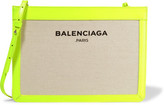Balenciaga Leather-trimmed Canvas Clutch - Ecru