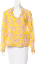 Tory Burch Printed Sequin-Accented Top