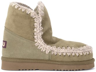 Mou Eskimo 18 Boot In Warm Military Green Double Face Sheepskin