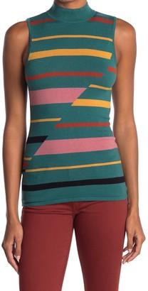 BCBGMAXAZRIA Stripe Mock Neck Sleeveless Sweater