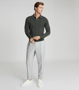 Reiss Robertson - Merino Wool Zip Neck Polo Shirt in Forest Green