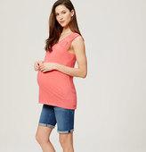LOFT Maternity Rolled Cuff Bermuda Shorts in Bright Mid Indigo Wash