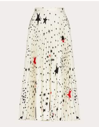 Valentino Printed Twill Pleated Skirt
