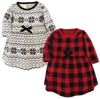 Touched By Nature Touched by Nature Baby and Toddler Girl Organic Cotton Long Sleeve Dresses, 2pk