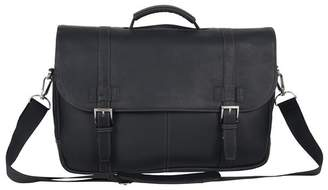 Kenneth Cole Reaction Double Gusset Flapover Colombian Leather Laptop Bag