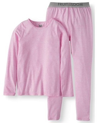 Fruit of the Loom Girls Core Performance Thermal Underwear Set, 2-Piece, Sizes 4-16