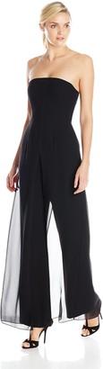 Halston Women's Strapless Jumpsuit with Flowy Pants
