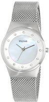 Pulsar Women's PH8053 Silver-Tone Stainless Steel Watch with Swarovski Crystal Markers