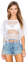 Nightcap Clothing Crochet Fringe Poncho Top