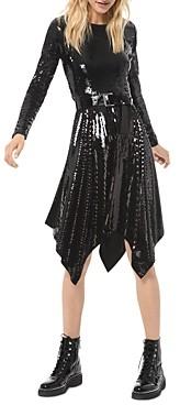MICHAEL Michael Kors Sequined Handkerchief Hem Dress