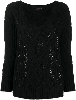Ermanno Scervino Cable Knit Embellished Jumper