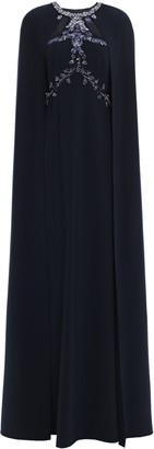 Marchesa Cape-effect Embellished Cady Gown