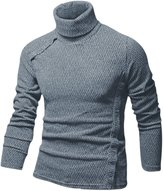 uxcell® Man Button Decor Long Sleeve Pullover Turtle Neck Shirt M