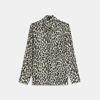 Theory Straight Shirt in Leopard Print Silk