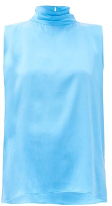 Worme - The High Neck Silk Tank Top - Womens - Blue