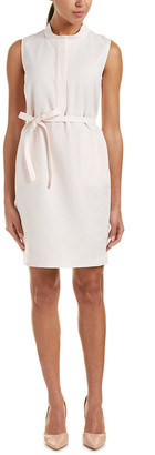 Lafayette 148 New York Tab Collar Linen-Blend Shift Dress