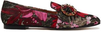 Dolce & Gabbana Embellished Metallic Floral-jacquard Loafers