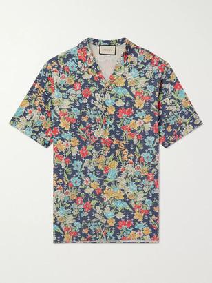 Gucci Oversized Camp-Collar Printed Cotton Shirt - Men - Blue