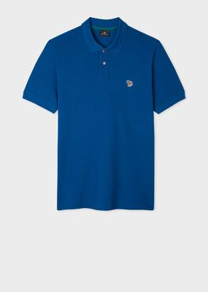 Paul Smith Men's Blue Organic Cotton-Pique Zebra Logo Polo Shirt