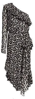 Amen Women's One-Shoulder Silk Ruffle Dress