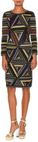 Missoni Patchwork-Knit Long-Sleeve Dress, Multi