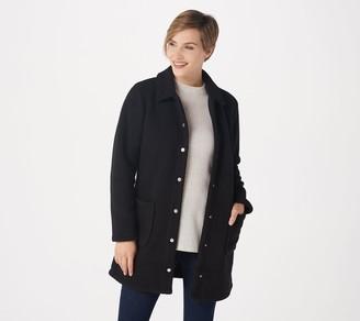 Denim & Co. Petite Sherpa Bonded with Fleece Snap Jacket