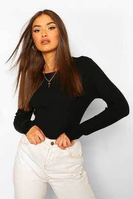 boohoo Rib Knit Crew Neck Long Sleeve Top