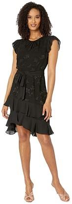 CeCe Flutter Sleeve Clipped Floral Chiffon Dress (Rich Black) Women's Dress