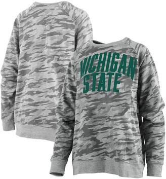 Unbranded Women's Pressbox Camo Michigan State Spartans Gulfport French Terry Raglan Pullover Sweatshirt