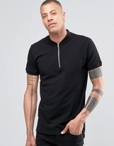 !solid Zip Neck Polo