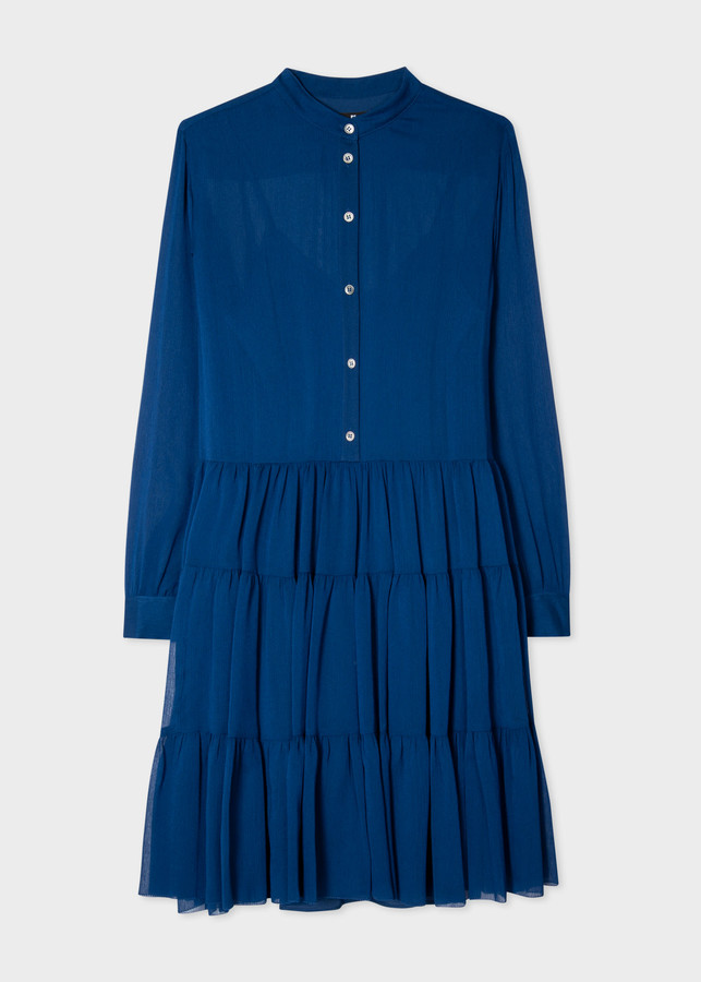 Paul Smith Women's Blue Semi-Sheer Shirt Dress