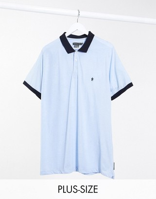 French Connection Plus contrast collar polo in blue