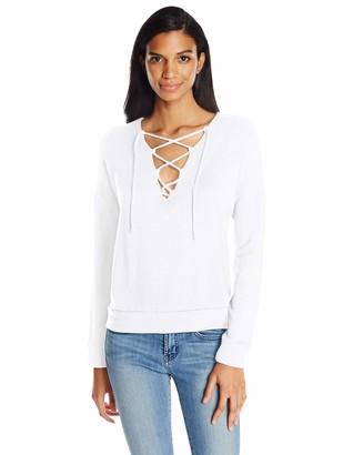 Stateside Women's Lace Up Fleece Sweatshirt