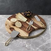Crate & Barrel Beck Cheese Board and 3 Gold Cheese Knives Set