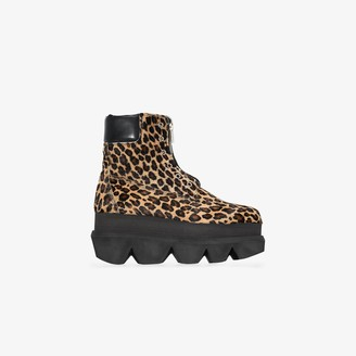 Sacai Brown Leopard Print Ankle Boots