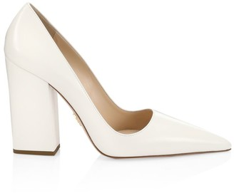 Prada Block-Heel Leather Pumps