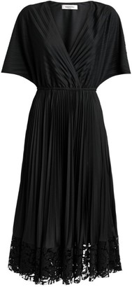 Valentino V-Neck Pleated Midi Dress