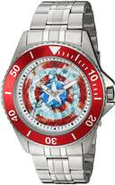 Marvel Men's 'Captain America' Quartz Stainless Steel Casual Watch, Color:-Toned (Model: WMA000017)