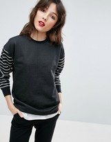 Asos Sweatshirt With Stripe Sleeves