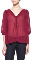 T-Bags LosAngeles T Bags Sheer Chiffon Button-Front Blouse, Wine