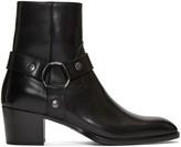 Saint Laurent Black Leather Wyatt Harness Boots
